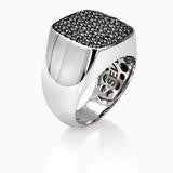 SEVEN50 18K SIGNET RING WITH BLACK DIAMONDS