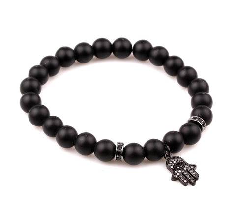 MENS CHARLIE MATTHEWS BLACK BUBBLE EVIL EYE AND HAND BRACELET