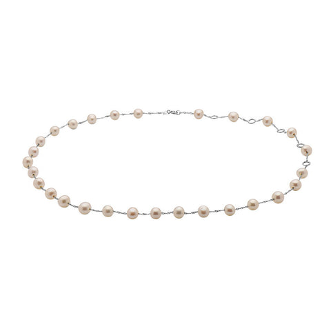NIA LYNN WHITE GOLD PINK PEARL CHOKER NECKLACE