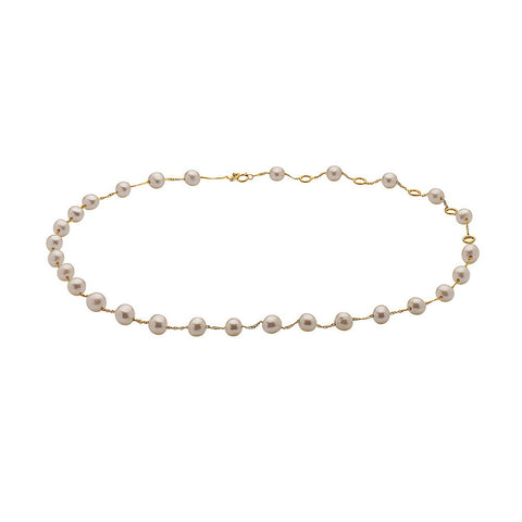 NIA LYNN YELLOW GOLD PINK PEARL CHOKER NECKLACE