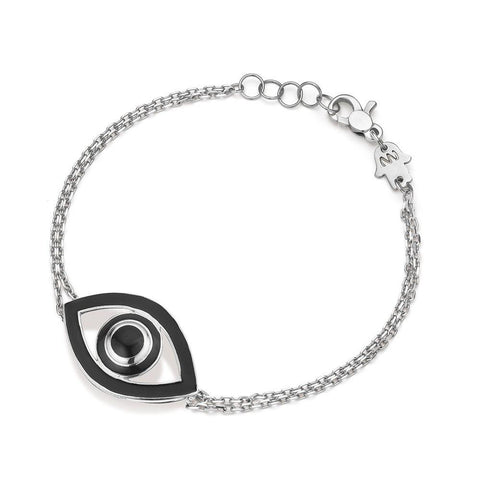 NETALI NISSIM x SEVEN50 - EYE BRACELET IN STERLING SILVER WITH BLACK ENAMEL