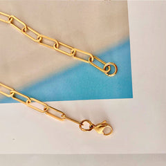18K Gold Plated Paperlink Chain Necklace Stainless Steel Choker Necklace Design Jewelry Wholesale