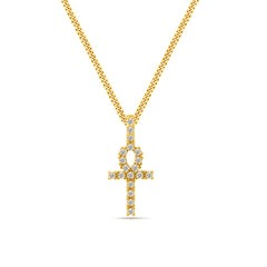 18k  gold plated 925 sterling silver micro pave iced diamonds ankh cross pendant necklace with miami curb link chain