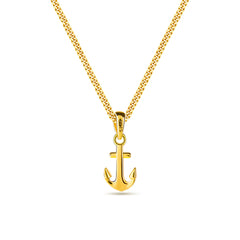 18k  gold plated 925 sterling silver micro anchor shape pendant necklace with miami curb link chain