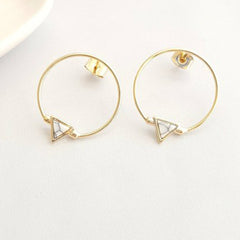 TRIANGLE STONE CHARM HOOP Earrings, EARINGS, ROSES CLOUD JEWELRY, SEVEN50 GROUP USA - SEVEN-50.COM
