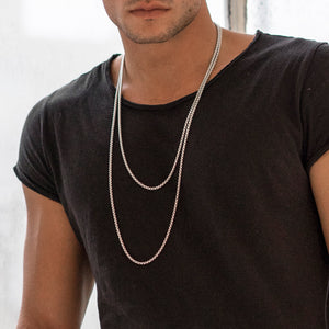 WHITE ROUND BOX CHAIN NECKLACE 3.6MM by andrea denver for seven50