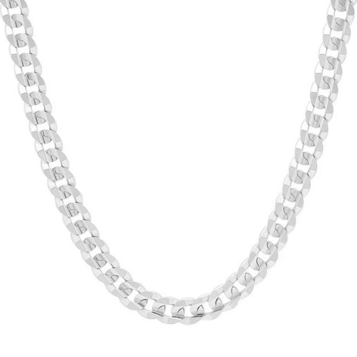 3mm-4mm-4mm-5mm-7mm-sterling-silver-925 flat curb-link-chain-necklace