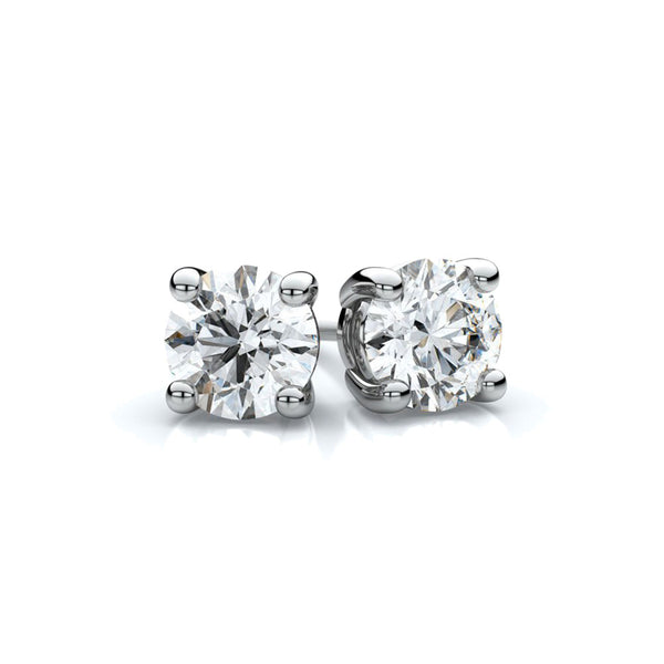 WHITE GOLD STERLING SILVER 4 PRONGS DIAMONDS STUDS EARRINGS