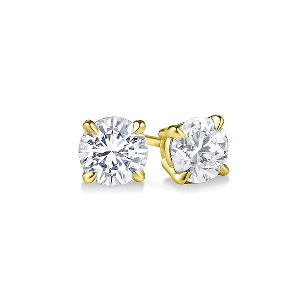 YELLOW GOLD STERLING SILVER 4 PRONGS DIAMONDS STUDS EARRINGS