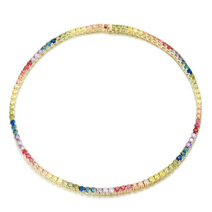 MULTICOLORED RAINBOW TENNIS NECKLACE IN STERLING SILVER