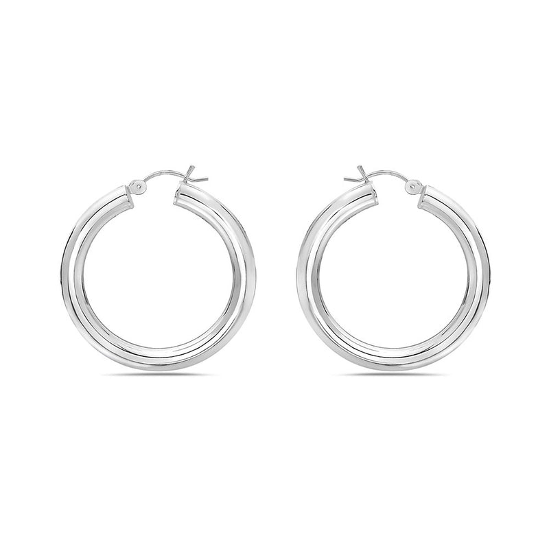 40 x 50mm STERLING SILVER ROUND HOOP EARRINGS