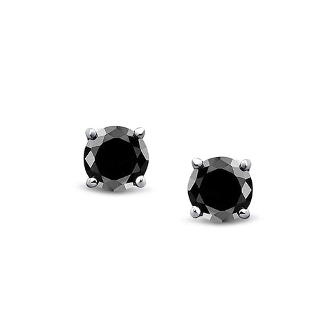 Sterling Silver Studs Earrings ,3mm-6mm Round Black Gold Solid 925 Sterling Silver Solitaire Stud Post Earrings Round Black Diamond CZ