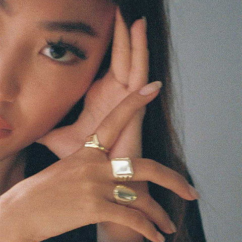 OVAL BLACK DIAMOND SIGNET RING by seven50 inspired by Alice Wang