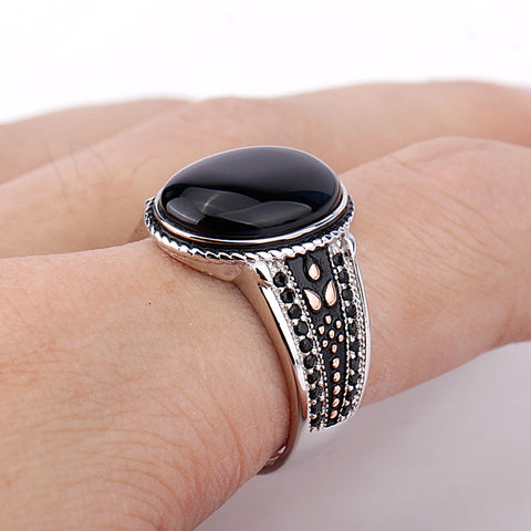 925-Sterling-Silver-Black-Oval-Stone-Ring-with-Black-CZ-Punk-Style-Cool-Finger-Ring-for-Men-Jewelry-by-seven50