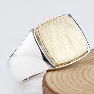 925-Sterling-Silver-Simple-Elegant-Gold-Color-Square-Plating-Brushed-Men-Wedding-Engagement-Jewelry-Man-Ring-by-seven50