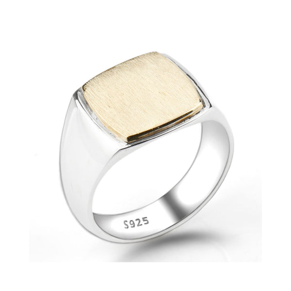 STERLING SILVER GOLD COLOR SQUARE BRUSHED SIGNET RING