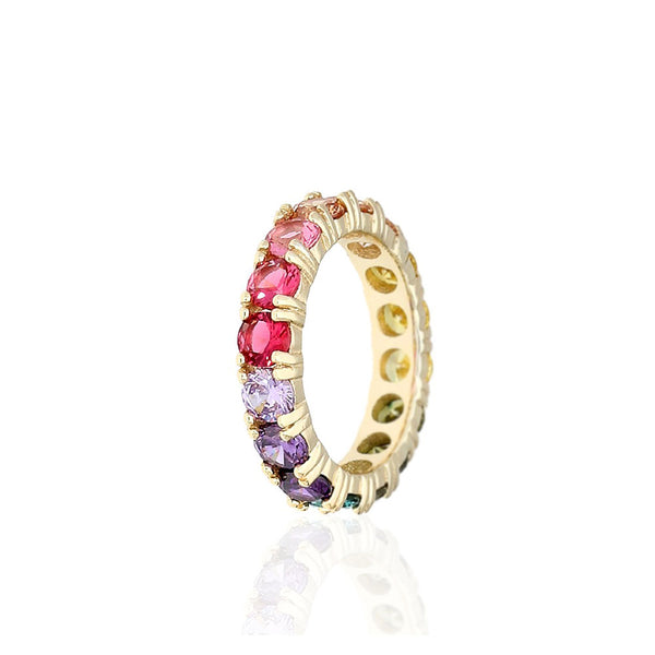 STERLING SILVER ROUND CUT MULTICOLORED GEMSTONES ETERNITY BAND RING