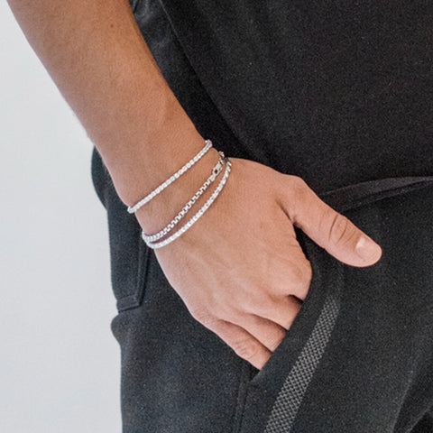 WHITE ROUND BOX CHAIN BRACELET 3.6MM by andrea denver for seven50