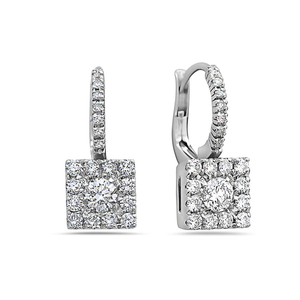 BIG MADE IN ITALY SQUARE CLUSTER ILLUSION ROUND DIAMONDS DROP EARRINGS
