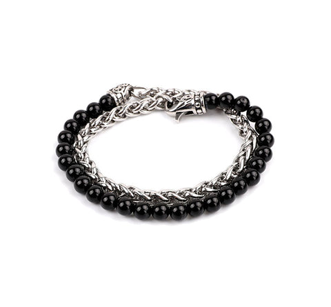 BLACK BEADS AND SPIGA BRACELET by seven50