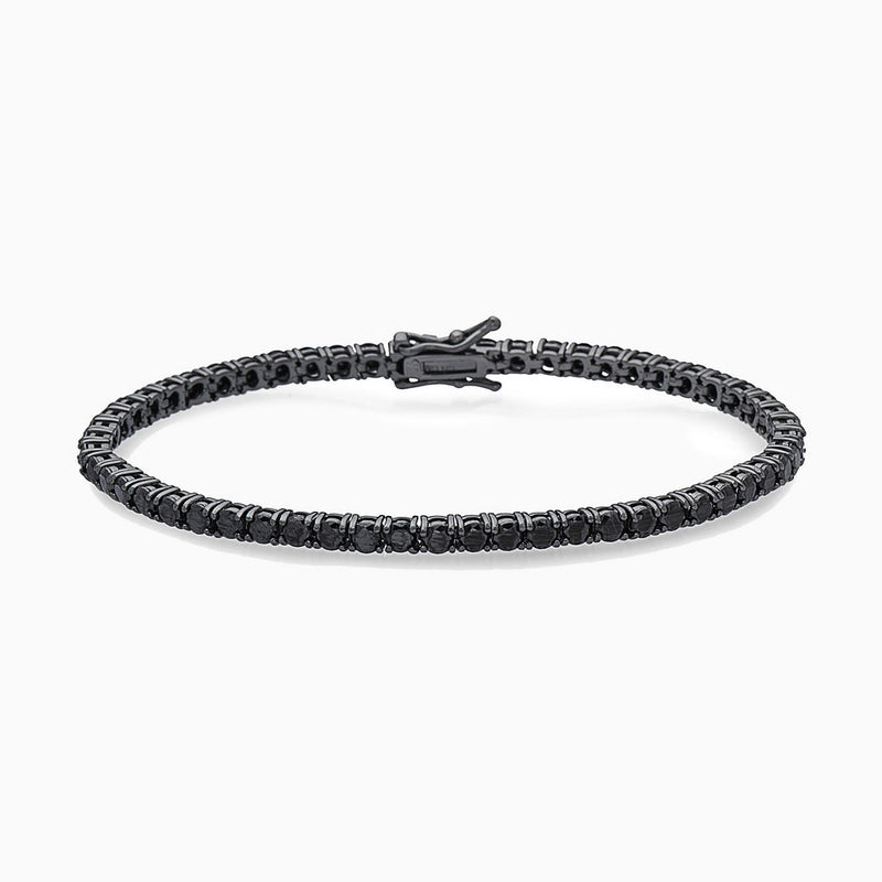 BLACK TENNIS BRACELET, BRACELET, ANDREA DENVER, SEVEN50 GROUP USA - SEVEN-50.COM