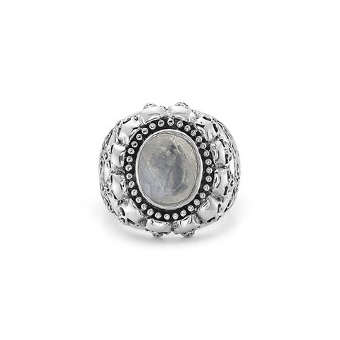 Billy Huxley Solid Sterling Silver skull grey stone signet Ring