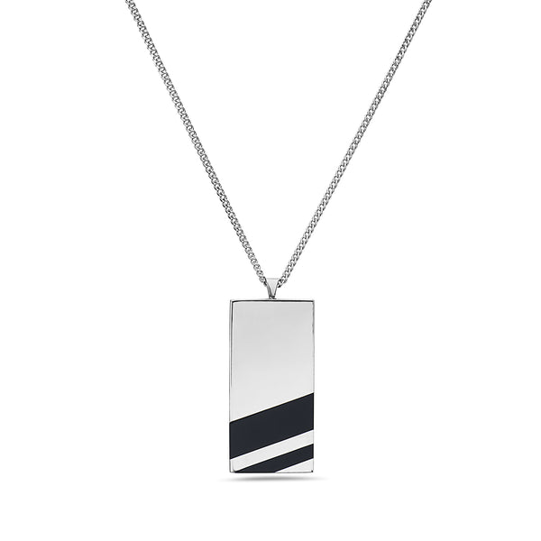 DOG TAG CLASSIC CHAIN BLACK ONYX NECKLACE