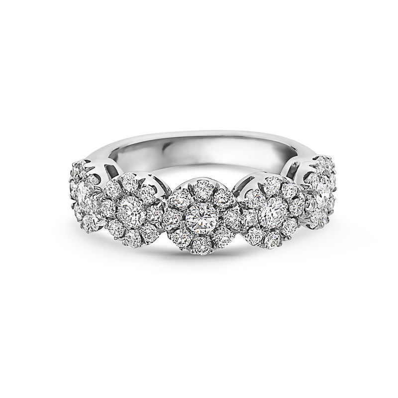 MADE IN ITALY CLUSTER ILLUSION ROUND DIAMONDS WEDDING BAND RING, WOMEN RING, SEVEN50 WOMAN, SEVEN50 GROUP USA - SEVEN-50.COM
