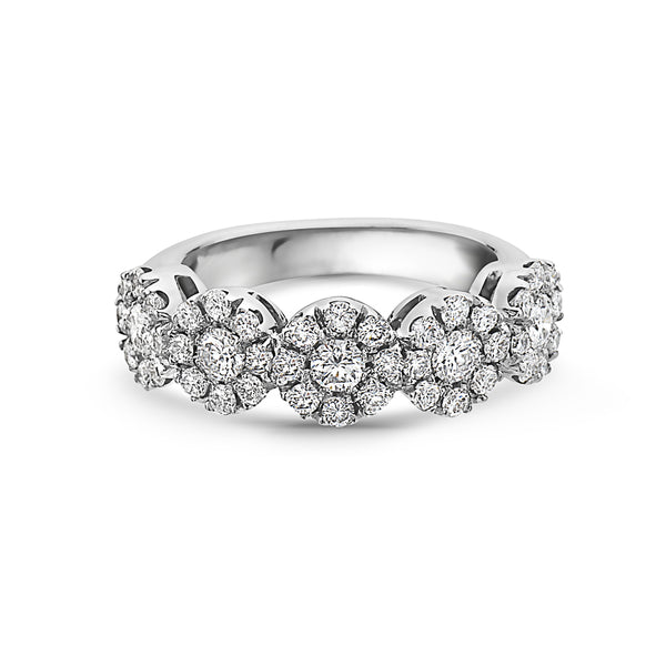 MADE IN ITALY CLUSTER ILLUSION ROUND DIAMONDS WEDDING BAND RING