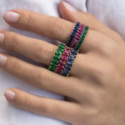 COLORFUL EMERALDS ETERNITY WEDDING BAND RING
