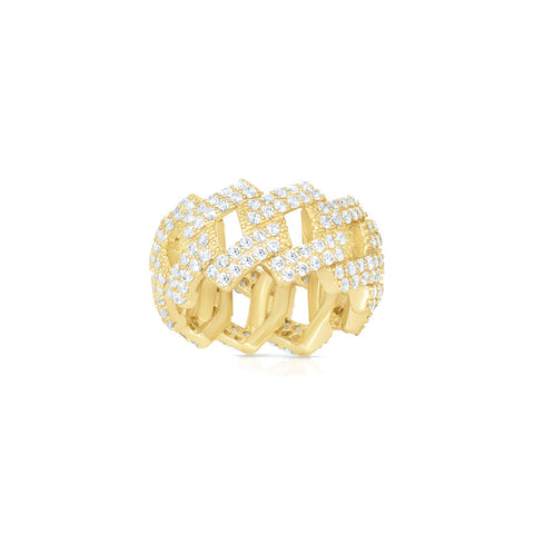 ICED OUT FLAT MIAMI CUBAN LINK  PAVE CZ STERLING SILVER RING