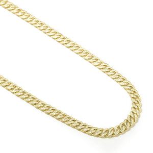 CUBAN LINK ( 6 MM ) CHAIN DIAMONDS STERLING SILVER NECKLACE