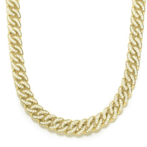 CUBAN LINK ( 8 MM ) CHAIN DIAMONDS STERLING SILVER NECKLACE