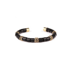 Charlie Matthews Bangle Cylinder Black onyX and Black Diamonds Bracelet in Stainless Steel x seven50