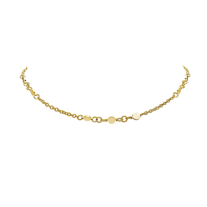 DELICATE CHOKER SPACED DISC NECKLACE, Collana, JEWELS BY NIDA, SEVEN50 GROUP USA - SEVEN-50.COM