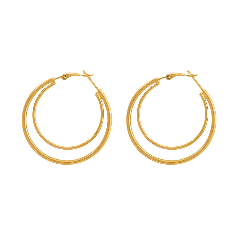 DOUBLE HOOPS EARRINGS, EARRINGS, ALICE WANG, SEVEN50 GROUP USA - SEVEN-50.COM
