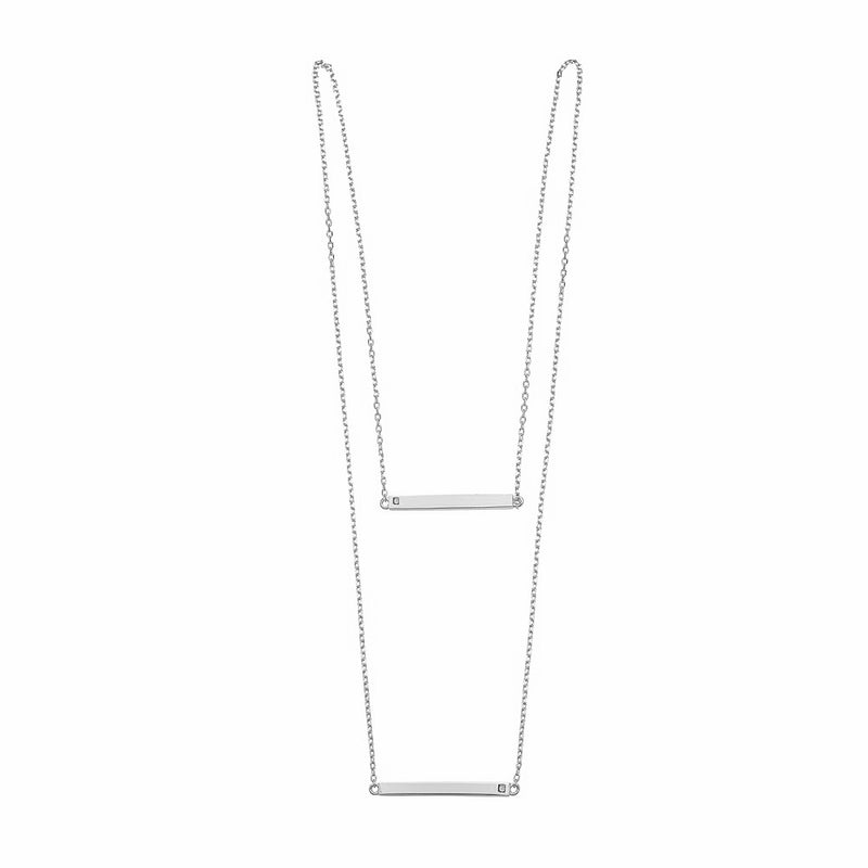DOUBLE LINEAR BAR WHITE NECKLACE, NECKLACES, JAYE KAYE, SEVEN50 GROUP USA - SEVEN-50.COM
