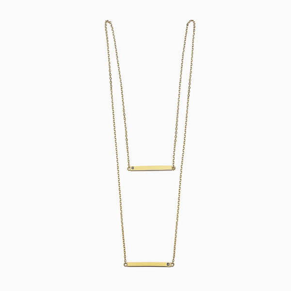 DOUBLE BLACK DIAMONDS LINEAR BAR YELLOW SCAPULAR NECKLACE