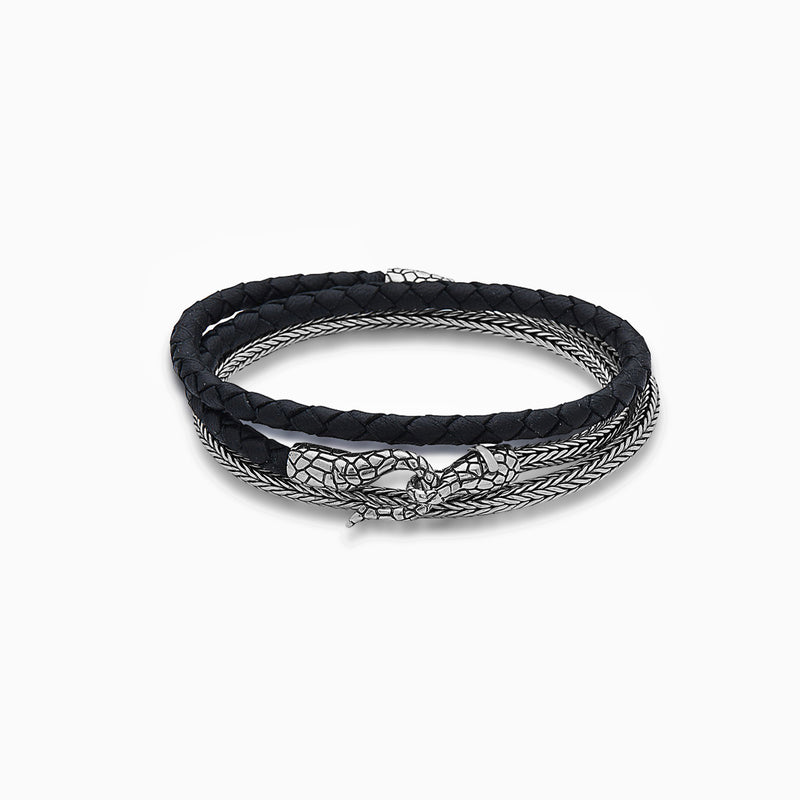 DOUBLE NAGA LEATHER BRACELET, BRACELET, DEARSAINTS, SEVEN50 GROUP USA - SEVEN-50.COM