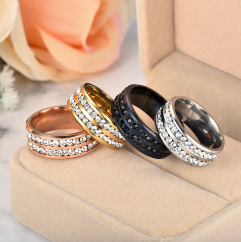 Double-row-crystal-stainless-steel-ring