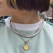 EMERALD CUT TENNIS NECKLACE WITH WHITE STONES