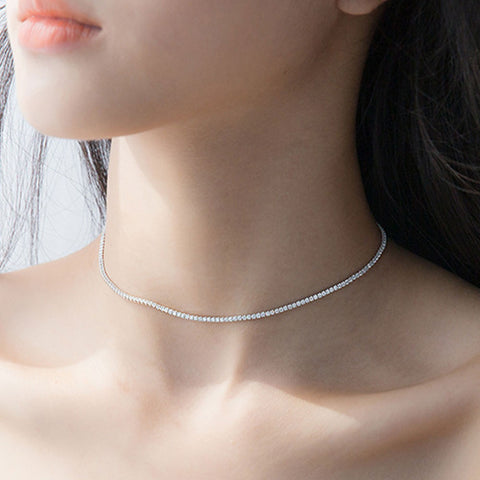Fashion 925 Sterling Silver CZ Crystal 2MM Tennis choker necklace for girl