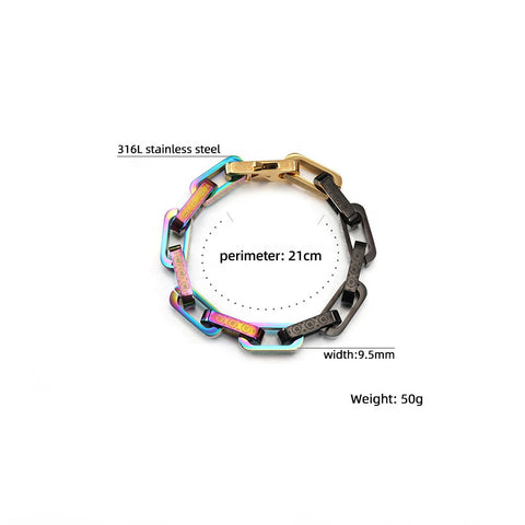 Fashion jewelry vintage silver Colorful plating 316L stainless steel cuff Engraved daisy chain link bangle bracelet