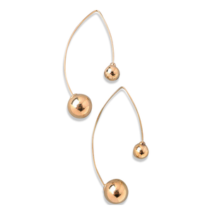 DOUBLE BALLS HOOK DANGLE EARRINGS, EARINGS, SEVEN50 WOMAN, SEVEN50 GROUP USA - SEVEN-50.COM