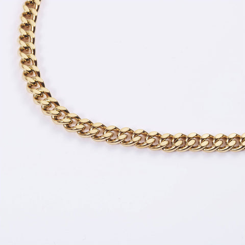 Gold 4mm Miami Cuban Link Chain Necklace Chain