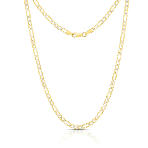 Gold-Sterling-Silver-Made-in-Italy-14K--Gold-plated-4mm-Figaro-Chain-Necklace
