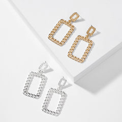 Gold & Silver Color Link Chain Double Rectangle Dangle Earring Alloy Costume Earring