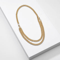 Gold & Silver Convertible 5mm Cuban Link Chain Necklace