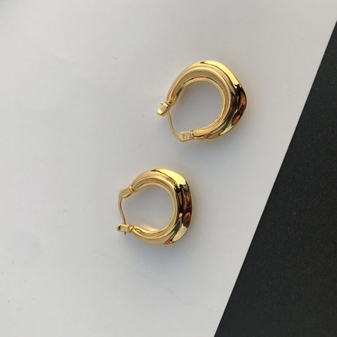 18K Gold Plated Enamel Brass Hoop Earring Statement Earring