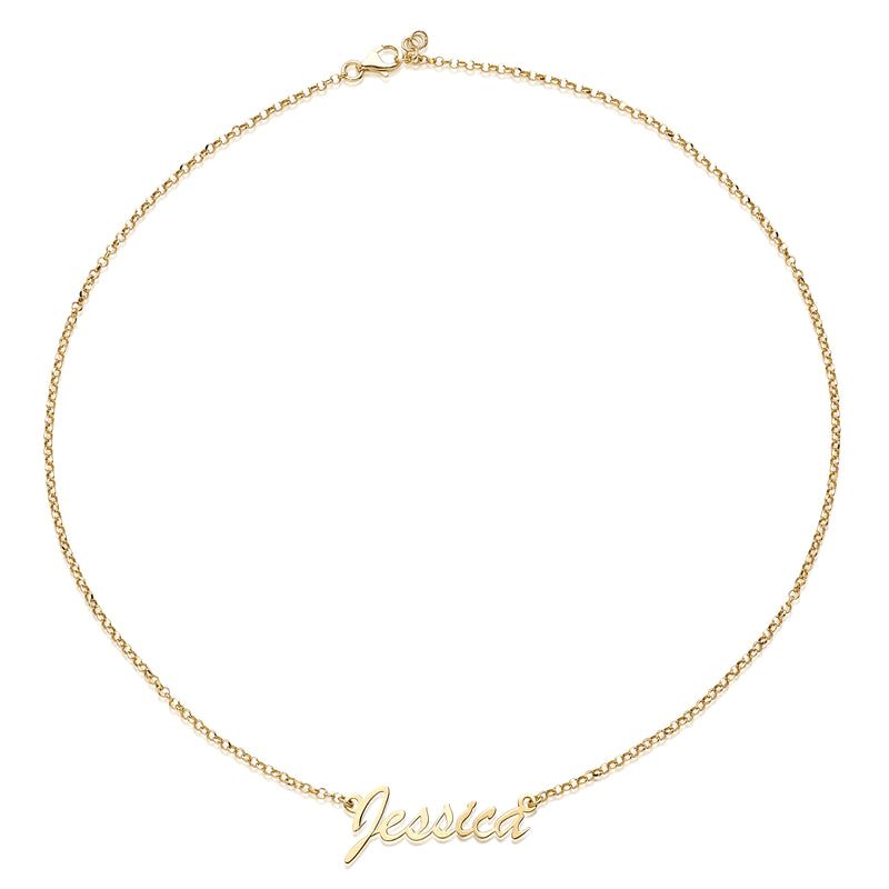 JESSICA MICHEL PERSONALIZED STERLING SILVER NAMEPLATE NECKLACE